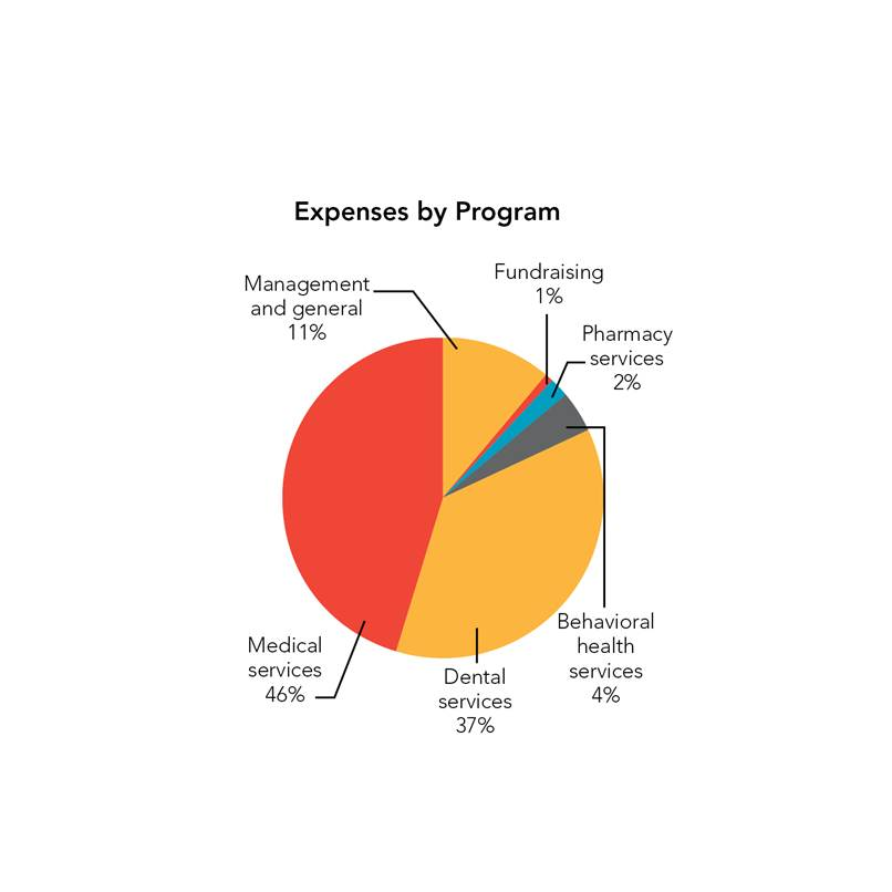 Expenses by Program: Medical services 46%; Dental services 37%; Management and general 11%; Behavioral health services 4%; Pharmacy services 2%; Fundraising 1%